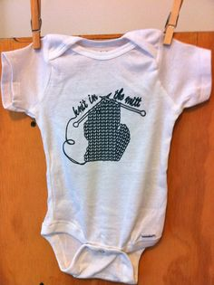 Michigan Knit in the Mitt Onesie by whatgoodcrafts on Etsy, $18.00