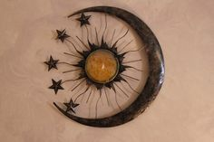 Metal Sun Moon Star Stars Celestial Wall Hanging Art Yellow