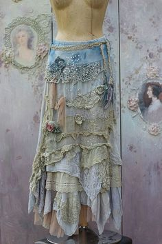 Barocco skirt - -romantic, maxi skirt, M size, shabby chic,cotton layered… Gypsy Style, Hippie Style, Bohemian Style, Boho Chic, Mode Hippie, Mode Boho, Cotton Maxi Skirts, Boho Skirts, Wrap Skirts