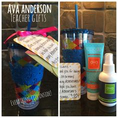 "Easy and useful teacher gift. ""Thank you for the learning adventures you provided for our daughter. We hope you have lots of adventures this summer."" Ava Anderson Non Toxic sunscreen and bug spray. avaandersonnontoxic.com/jessicajacobson"