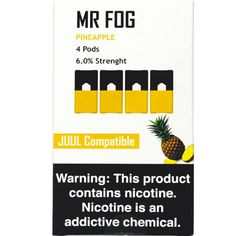 Mr Fog Juul Compatible Pods PINEAPPLE Pack of four Mr Fog Juul compatible pods. Each pod contains nicotine strength per volume. These pods filled with pineapple flavor. Nicotine Salt per volume strength Volume: Favor: pineaaple Vape Smoke, Thrift Store Crafts, Hush Hush, Pineapple, Strength, Salt, Packing, Themed Parties, Stoner