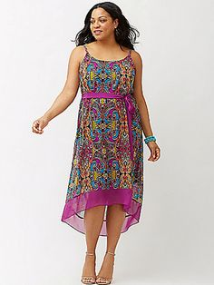 8a5e5389afd NEW Lane Bryant 22 24 Paisley Purple Hi Lo Dress Chiffon Lined Spaghetti  Strap