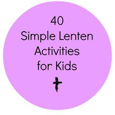 40 great ideas to do for Lent with kids--here's two:  Make a Prayer Chain: List 40 intentions or people on 40 slips of paper. Link them together into a chain. Rip one off each morning of Lent and pray for that need.  Bury the Hallelujah: Explain why we don't proclaim hallelujah during Lent. To symbolize, write out hallelujah on paper and bury it in the yard or put it away in a box.