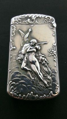 Antique 1895 Sterling Silver Angel  Woman Match Safe Vesta Case Box Holder Kerr