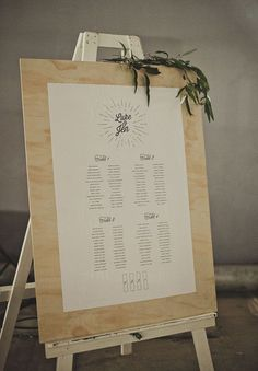20 Stylish Seating Charts to Greet Your Reception Guests - mywedding Reception Seating Chart, Wedding Reception Seating, Seating Chart Wedding, Wedding Signage, Seating Charts, Wedding Table, Table Seating, Seating Plans, Fall Wedding Decorations