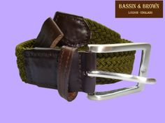 BASSIN & BROWN - KHAKI WOVEN/BROWN LEATHER BELT - MADE IN ENGLAND.  http://www.bassinandbrown.com/
