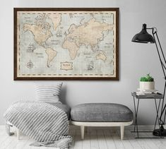 World Map Poster - Rustic Vintage Style Travel Map Vintage Style, Vintage Fashion, World Map Poster, Extra Large Wall Art, Large Format, Travel Maps, Vintage World Maps, Ikea, Rustic