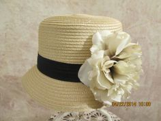 Women's Taupe Hat with Peony  Lovely Straw by IsabellasHatsandBows, $34.99