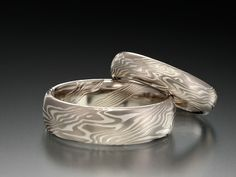 Mokume-Gane Rings. A Japanese style of metal bending similar to that used with samurai swords. Jeremy found these!