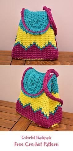 Colorful Backpack Free Crochet Pattern #crochet #crafts #fashion #bag #style #idea #diy #homemade #handmade