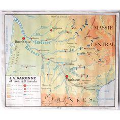 Ancienne carte de géographie, par les Éditions ROSSIGNOL - MONTMORILLON (Vienne). Imprimée à Paris. Face 15 - La Garonne, face 16 - Le Rhône.  leshappyvintage.fr