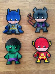 Batman, Catwoman, Hulk, Flash - superheroes hama beads perler