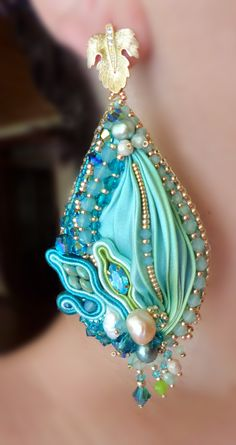 """Silk Leaf Earrings"" design by Serena Di Mercione  --- bead embroidery  shibori silk ribbon"