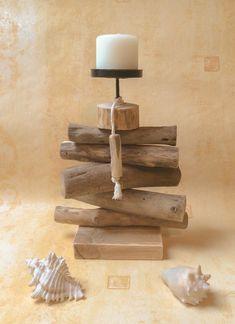 Bougeoir en bois flotté par l'Atelier de Corinne : Luminaires par atelier-de-corinne