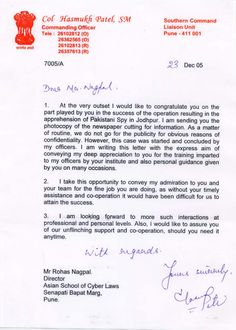 Letter of appreciation from the Indian Army for help with apprehending a Pakistani spy.