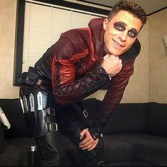 Colton Haynes During filming of Arrow