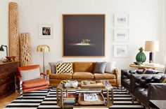 Masculine living room with black and white rug