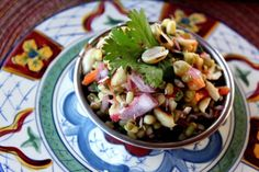 Sprouted Green Lentils and Peanut Salad [Vegan] | One Green Planet