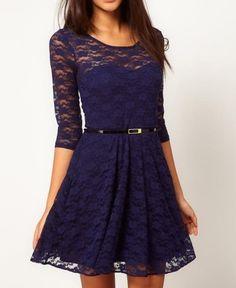 Vestido de renda forrado azul anil / jahsaude