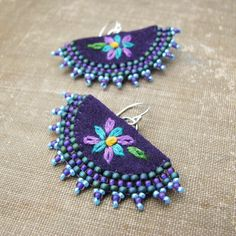 Purple Flower Earrings, Fan Shaped, Embroidery, Beaded Edging, Sterling Silver  by sylviawindhurst, via Flickr