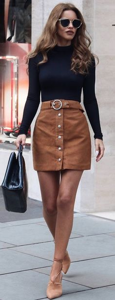 #fall #trending #outfits | Black + Camel