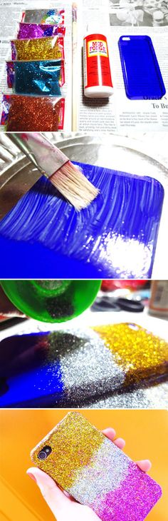 Turn an old iPhone case into an ombre glitter iPhone case. | 43 DIY Ways To Add Some Much-Needed Sparkle To Your Life