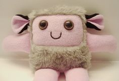 Plush monster toy, Furry monster in faux fur and pink fleece - Wimbly