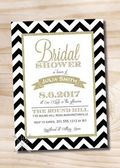 Black & Gold Glitter Chevron Bridal Shower by PaperHeartCompany