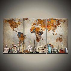 3Pcs/Set Colorful World Map Monuments Canvas Prints Painting Wall Art Home Decor