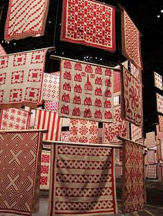 The American Folk Art Museum - red & white quilt display - love it!