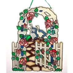 ORNAMENT  Rose Garden Trellis & Geese On by CreativeXpression1, $15.00
