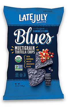 Pack) Late July Snacks, Cure for the Summertime Blues Multigrain Tortilla Chips, oz Chips Packaging, Packaging Snack, Cool Packaging, Food Packaging Design, Packaging Design Inspiration, Brand Packaging, Pouch Packaging, Coffee Packaging, Coffee Branding