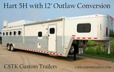 #big and #beautiful !! CSTK Custom Trailers. Hart horse trailers, Hart Trailers, 5H trailers, Outlaw Conversion, Living quarter trailers, trainers trailer Livestock Trailers, Horse Trailers, Custom Trailers, Trailers For Sale, Horse Transport, Hippie Life, Recreational Vehicles, Horses, Rodeo