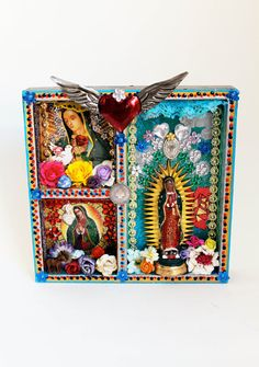 Our Lady of Guadalupe Shadow box shrine  - The Virgin Mary shrine or altar piece / Rainbow colorful / Mexican folk art