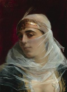 """""""Turkish Woman"""" by Theodore Jacques Ralli Greek Paintings, Old Paintings, Rubens Paintings, Canvas Art Prints, Oil On Canvas, Jean Leon, Harem Girl, Woman Painting, Lausanne"""