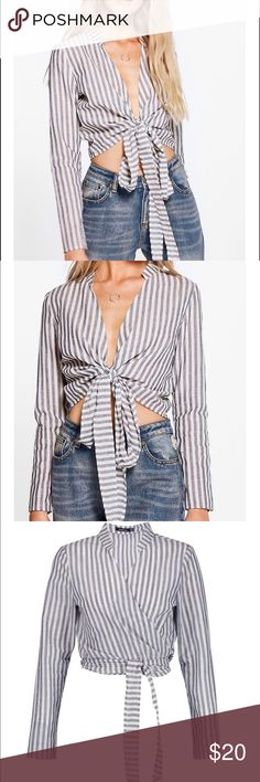 Tie front wrap shirt ✨ NWT Size L (10) US (14) UK Boohoo Tops Crop Tops
