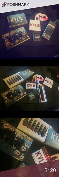 Kylie Cosmetics Huge Lot Limited Edition Everything is authentic and brand new Includes:  1 Merry Lip Kit Ornament (LE Holiday Edition) 1 Camo Creme Shadow (LE Holiday Edition) 1 Matte Liquid Lipstick minis (LE Holiday Edition) includes shades Moon, Ginger, Kristen, Angel, Love Bite and Vixen 1 Sweet Heart Kit (LE Valentines Collection) includes two eyeshadows in shades Love Letter and Baby. And one mini Lipstick in shade Dolce K and one mini gloss in shade Literally 1 Holiday Edition card 1…