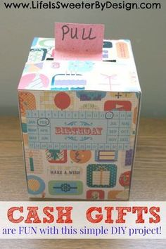 Do you plan to give cash money as a gift?  Here is a quick, easy and fun DIY for making a cash gift using a tissue box that will WOW your loved one!