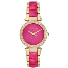 Women's Michael Kors Parker Bracelet Watch ($275) ❤ liked on Polyvore featuring jewelry, watches, watch bracelet, pink watches, bezel watches, sparkly watches and michael kors
