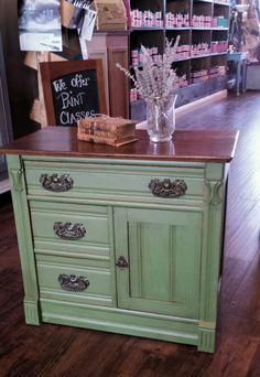 Wash stand finished in Olive Branch and Sable Protective Glaze. Milk Paint Furniture, Green Furniture, Diy Furniture Projects, Funky Furniture, Refurbished Furniture, Colorful Furniture, Upcycled Furniture, Furniture Making, Vintage Furniture