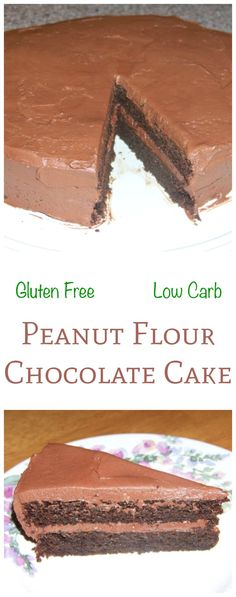An amazing low carb peanut flour chocolate cake. This gluten free cake is made extra special by topping it with a sugar free chocolate buttercream frosting. Keto LCHF Banting Recipe