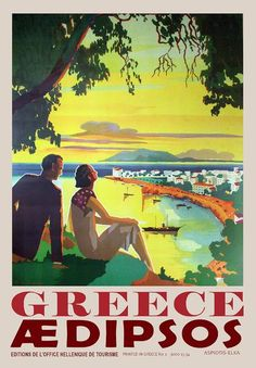 Greece Aedipsos Vintage Travel Poster Vintage Travel Posters with attractive colours and designs reflect the beautiful atmosphere of Greek cities and coastal regions.These Greek Posters tell us tales from Greek history. It introduces us to wonderful islands such as Santorini and Mykonos, one of the most beautiful coasts of the Mediterranean and Aegean. One of the Greek posters that I add new ones at every opportunity is definitely for you.Hundreds ofGreekPosters await you among our pages… Original Vintage, Vintage Art, Vintage Prints, Greece Resorts, Greece History, Tourism Poster, Greece Holiday, Poster Prints, Art Prints