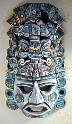 Yeah, I know it's not a goalie mask, per se, but it's gorgeous. It came back with us from Chichen Itza in Mexico nigh on ten years ago. Photo by Jason Kurylo for Pucked in the Head. Mexican Gods, Mexican Art, Mayan Mask, Mayan Tattoos, Aztec Symbols, Ceramic Mask, South American Art, Aztec Culture, Aztec Warrior