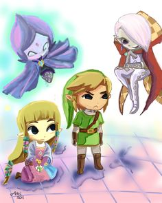 skyward chibis. this is darn cute! #legend_of_zelda #loz Ghirahim, Fi, Link, and Zelda