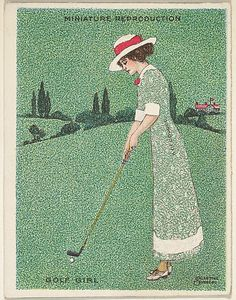 "Card 310, Golf Girl, from the series ""Artistic Pictures"" (T32), issued by Liggett & Myers Tobacco Company to promote Richmond Straight Cut Cigarettes  Valentine Sandberg"