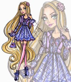 Hayden Williams Fashion Illustrations: Disney Diva Fashionistas by Hayden Williams: Rapunzel
