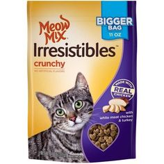 Meow Mix Irresistibles Crunchy Cat Treats with Real White Meat Salmon and Ocean Whitefish , 6 oz. by Meow Mix ** Visit the image link more details. (This is an affiliate link and I receive a commission for the sales) Salmon Cat, Chicken Cat, Chicken Treats, Cat Id Tags, Cat Shedding, Cat Fleas, Cat Memorial, Cat Accessories, Meat Chickens