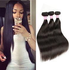 Beautier Straight Brazilian Human Hair Extension 3 Bundles 100% 6a Unprocessed Virgin Hair Natural Black(12 14 16)