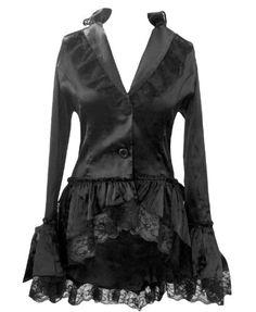 Black - Satin Corset Bustle Lace Ruffle Jacket Gothic Steampunk Victorian Vintage Size 8
