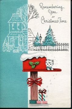 Old Christmas Card Kitty Cat Kitten in Mailbox Remembering You at Christmas Time
